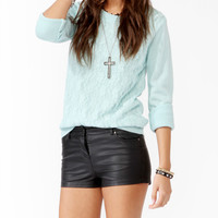 Lace Overlay Knit Sweater
