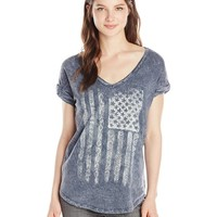 Miss Me American Flag V-Neck Top
