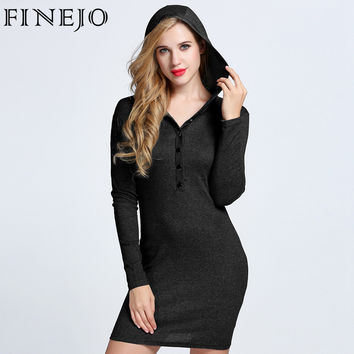FINEJO 2016 Autumn Sexy Hooded Long Sleeve Dress V Neck Bodycon Cotton Fit Button Solid Casual Party Pencil Dress Plus Size 3XL