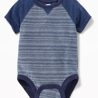 Color-Block Raglan-Sleeve Bodysuit for Baby|old-navy