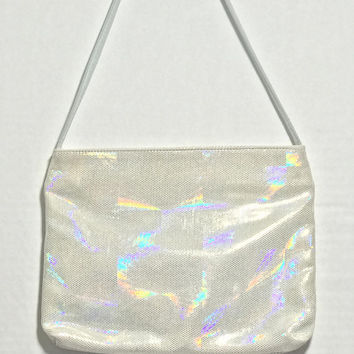 Vtg SAKS FIFTH AVENUE Holographic Crossbody Bag / Silver Iridescent Microdot Handbag / Pastel Grunge Rainbow Holopunk Purse / Made in Italy