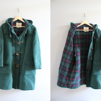 US Free Shipping Original Gloverall English Duffle Coat Made in England Emerald Green Plaid Wool Hooded Coat 70s Unisex Vintage  Size L
