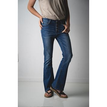 Kan Can Dark Wash Button Up Flare Jeans