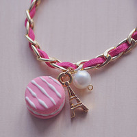 FREE SHIPPING Macarons bracelet (Gold filled chain)