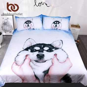 Cool BeddingOutlet Husky Puppy Bedding Set Queen King Watercolor Duvet Cover With Pillowcases Bed Set for Kids Animal Bedclothes 3pcsAT_93_12