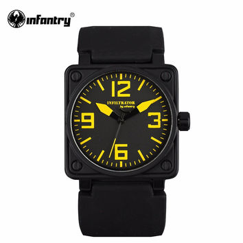 Mens Watches Square Face Military Army Quartz Watch Black Rubber Strap Sports Watches