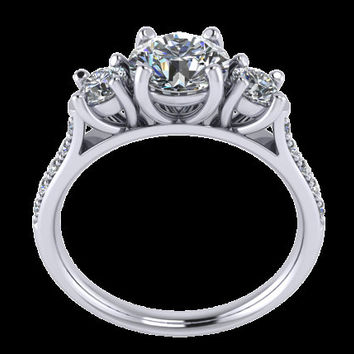 Triology Solitaire Ring with sides Diamonds -JT26