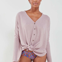 Out From Under Jojo Oversized Thermal Button-Front Top | Urban Outfitters
