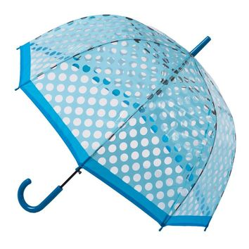 Clear Dome Stick Umbrella with Light Blue Polka Dots