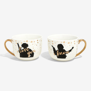 Star Wars Princess Leia & Han Solo Gold Foil Mug Set