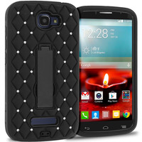 Black / Black Hybrid Diamond Bling Hard Soft Case Cover Stand for Alcatel One Touch Fierce 2 7040T