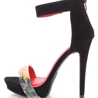 Black Floral Strap Open Toe High Heels Faux Suede