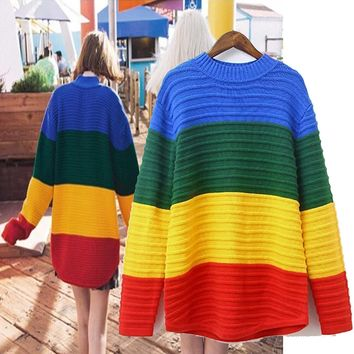 FW16 Winter Women's Fashion Patchwork Pullover Sweater [8511463879]