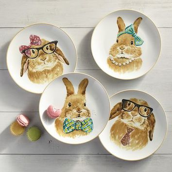 Easter Bunny Faces Salad Plate Set