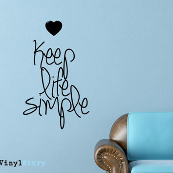 "Inspiring Typography Wall Decal Quote ""Keep Life Simple"" 28 x 17 inches"