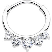 "16 Gauge 5/16"" Clear CZ Gem Quintet Fan Septum Clicker"