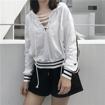 Women Girls Casual Loose Short Sweatshirt Hoodie Pullover Long Sleeve