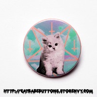 """Pastel Goth Satanic Cat 1x1.5"""" pinback button badge from Cat Babe Buttons"""