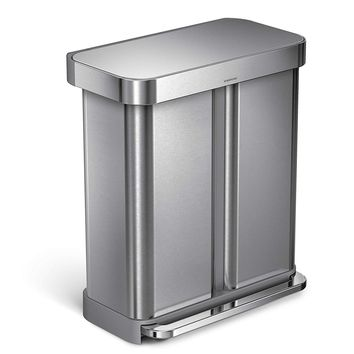 SIMPLEHUMAN DUAL COMPARTMENT RECTANGULAR 58-LITER STEP TRASH CAN IN BRUSHED STAINLESS STEEL
