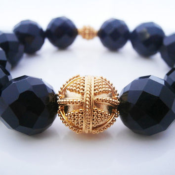 Faceted Black Onyx and Gold Vermeil Bracelet