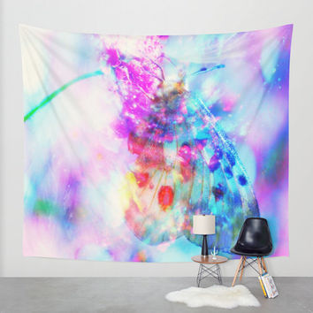 butterfly wall tapestry pastel butterfly wall tapestry,pastel tapestry,pink tapestry,light blue wall tapestry,butterfly wall decal,butterfly