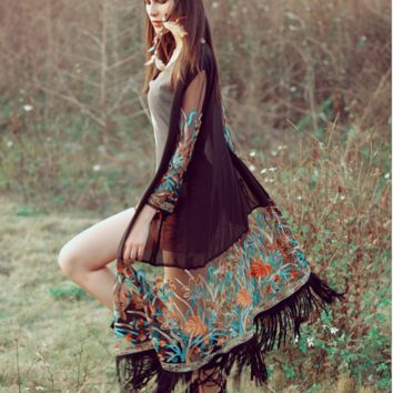 Slovic bohemian style floral embroidered kimono cover-up