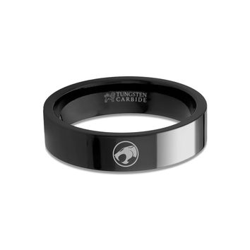 ThunderCats Symbol Logo Engraved Black Tungsten Wedding Band