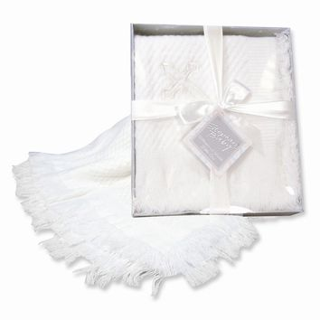 White Boxed Cross Shawl Blanket