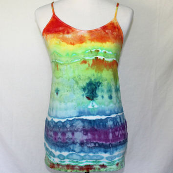 Tie Dye Tank Top, Womens Tie Dye Tank, Tie Dyed Vest, Tie Dye Workout Top, Hand Dyed Blouse, Tie Dye Camisole, Yoga Shirt, Extra Large