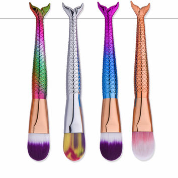 Mermaid Makeup Brushes With Delicate Tail Finish- Gentle Foundation Brushes