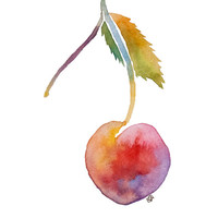 Cherry Watercolor Print - Archival Quality Watercolor Giclee - Minimalistic Food Art