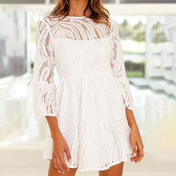 Vintage Embroidery Lace Dress Women Sexy Hollow Out Short Dress Casual A-Line Holiday Dress