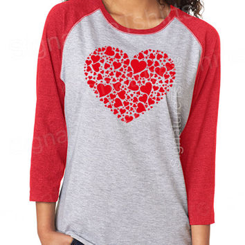 Valentines Day Gift shirt womens t-shirt Red Heart Vintage baseball raglan 3/4 sleeve tshirt funny wife gift graphic tee shirt Wedding gift