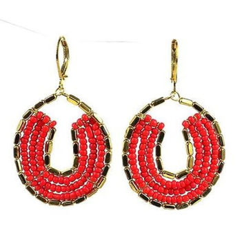 Byzantine Earrings in Red and Gold - WorldFinds