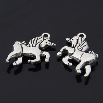 Daisies 50pcs/lot Antique Silver Cute Inspiring Running Horse Unicorn Charms Diy Findings Vintage Jewelry 18*20mm