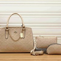 COACH Women Shopping Leather Tote Crossbody Satchel Shoulder Bag Set Three Piece