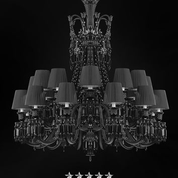 Shaded Empire Black Crystal Chandelier