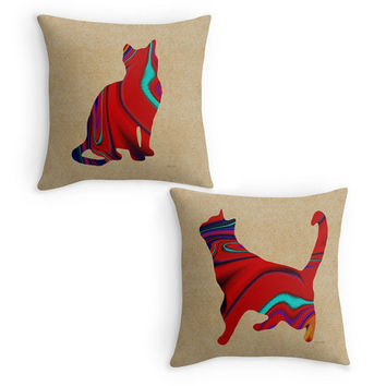 Cat Scatter Cushion, Red Cats Throw Pillows,16x16, Colourful  Patterned Cats, Cat Owners Gift