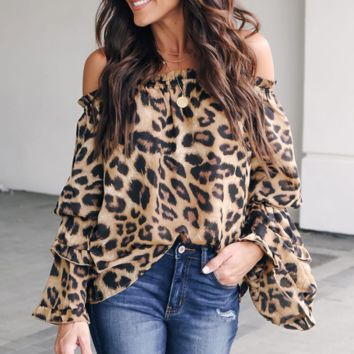 Fashion New Leopard Print Long Sleeve Top Women
