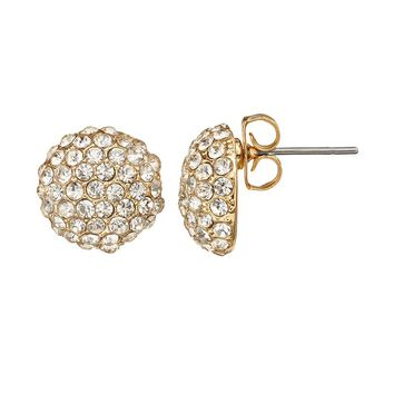 Duchess of Dazzle Crystal 14k Gold-Plated Button Stud Earrings (Yellow)