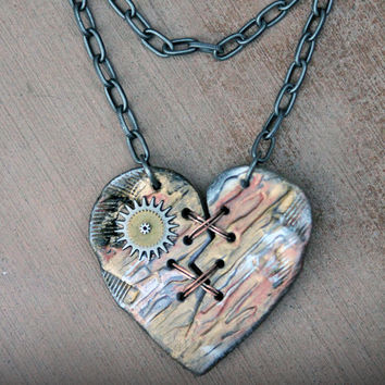 Ex Marks The SteamPunk Heart - Acrylic Laser Cut Broken and Mended Heart Statement Necklace