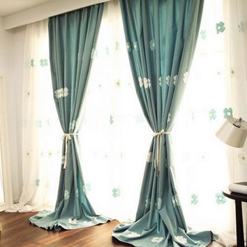 New embroidery design for blue and pink curtain fabric Korean style window curtains