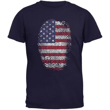 4th of July American Flag Pride Thumbprint Navy Adult T-Shirt