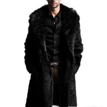 New Fashion Men Faux Fur Long Section of the Coat Men Winter Warm Imitation Fur Fur Wool Jacket USA S4
