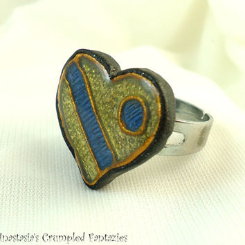 Faux cloisonne heart ring, Polymer clay yellow blue gold, Love affection friendship modern jewelry, Colorful boho, Valentine's day