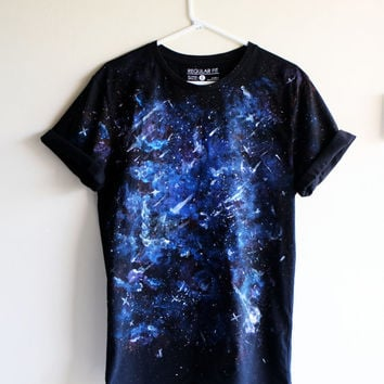 Blue Galaxy Hand Painted T Shirt // Oversized Purple, Blue, Glitter Handmade Galaxy // Ladies Space, Nebula Shirt.