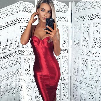 Sexy Spaghetti Straps Bodycon Red Party Dress Open Back Satin Gold Tight Package Hips Sleeveless Split Midi Dress