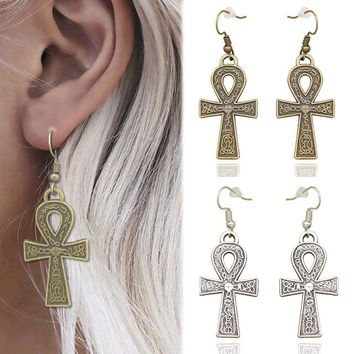 Vintage Retro Gold Silver Egypt Cleopatra Ankara Hieroglyphic Ankh Cross Metu Dangle Earrings Women Oorbellen Jewelry Orecchini