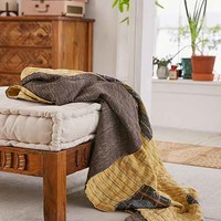 Mia Striped Kantha Throw Blanket