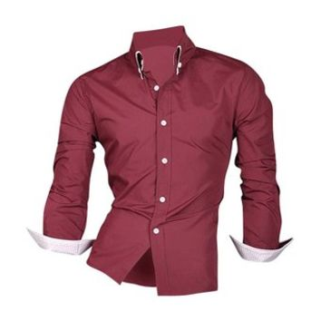 jeansian Men's Slim Fit Long Sleeves Casual Shirts 8382